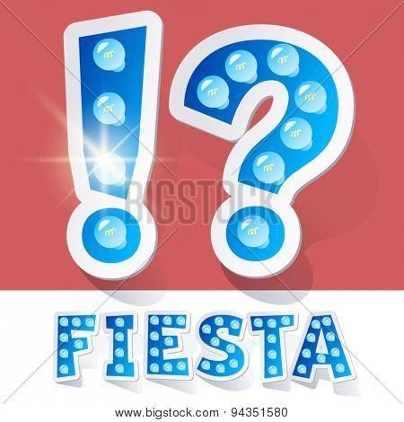 Funny lamp cartoon alphabet for party, holiday and celebration. Sticker style. Symbols