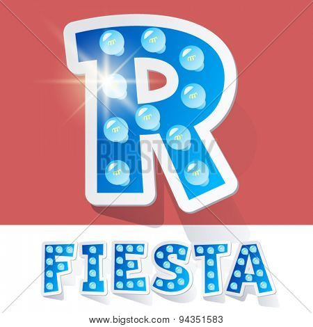 Funny lamp cartoon alphabet for party, holiday and celebration. Sticker style. Letter R