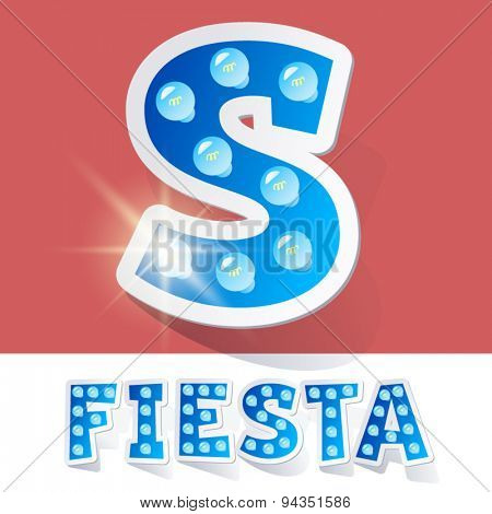Funny lamp cartoon alphabet for party, holiday and celebration. Sticker style. Letter S
