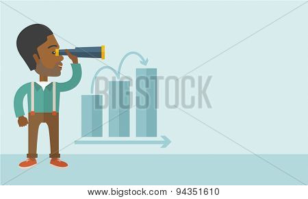 An african businessman standing using binocular to look over the graph that shows increasing in sales. Growing business concept. A Contemporary style with pastel palette, soft blue tinted background