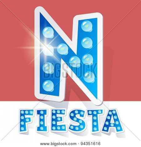 Funny lamp cartoon alphabet for party, holiday and celebration. Sticker style. Letter N