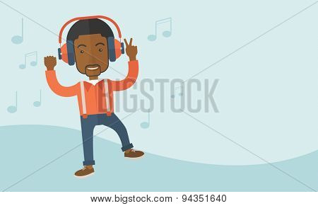 A happy black young man dancing, singing while listening to music with headphones showing the notes at his back. Happy concept. A Contemporary style with pastel palette, soft blue tinted background