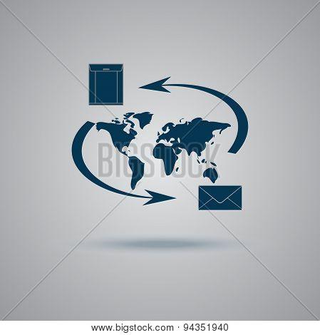 mail, world, flat, icon, vector, illustration
