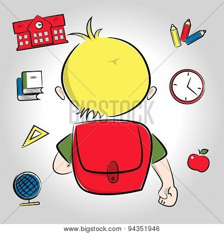 Blond boy going to school
