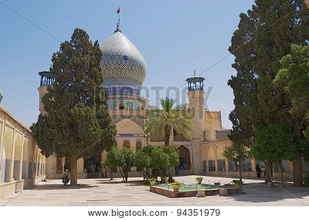 Exterior of the Emamzadeh-ye Ali Ebn-e Hamzeh mosque in Shiraz, Iran.