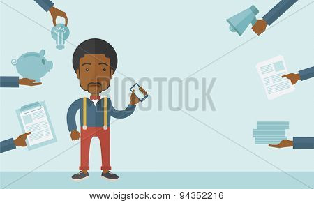 Black Man with smartphone in hand has a lot of of task and paperwork suitable for time management business concept. A Contemporary style with pastel palette, soft blue tinted background. Vector flat
