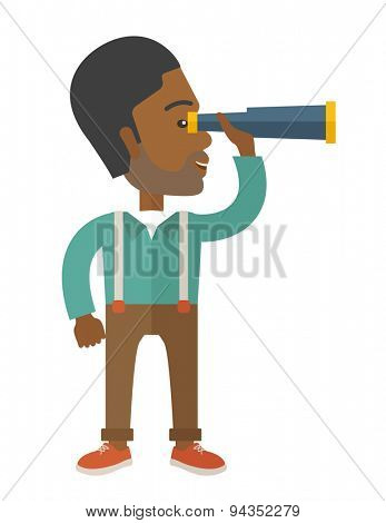 An african businessman standing using binocular to look for something. Business concept. A Contemporary style. Vector flat design illustration with isolated white background. Vertical layout.