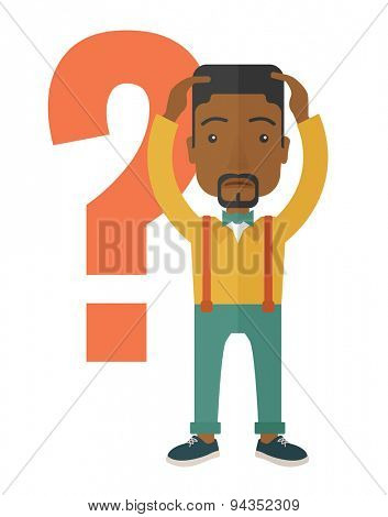A black businessman with a problem standing scratching his head with question marks beside him. A contemporary style. Vector flat design illustration with isolated white background. Vertical layout