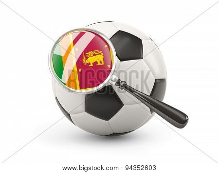 Football With Magnified Flag Of Sri Lanka