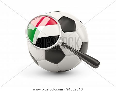 Football With Magnified Flag Of Sudan