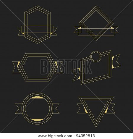 Golden thin line empty geometrical banners design elements set on black background