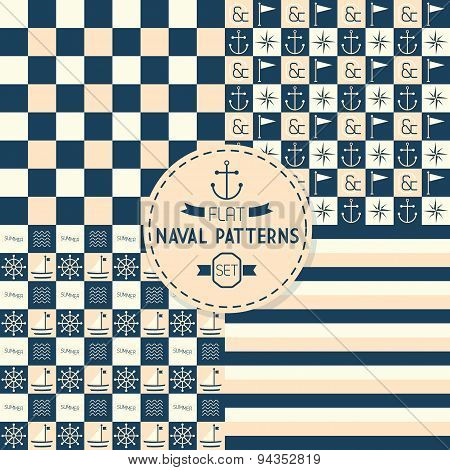 Abstract naval symbols stripes and checkered seamless patterns set