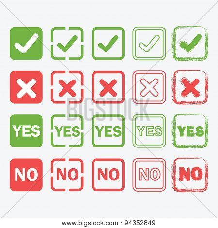 Yes and No square icons in silhouette and outline styles set