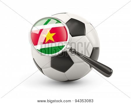 Football With Magnified Flag Of Suriname