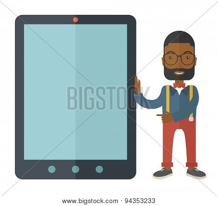 A black businessmen standing while holding a big screen a computer tablet perspective view strategy marketing. Business concept. A Contemporary style. Vector flat design illustration with isolated
