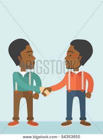Two African-american guys standing facing each other handshaking for the successful business deal. Business partnership concept. A Contemporary style with pastel palette, soft blue tinted background
