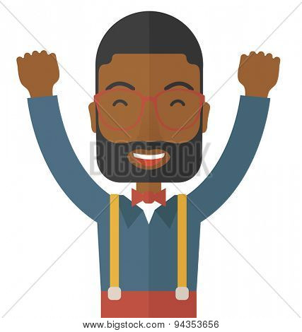 A Black young man is happy raising his two hands. Successful concept. A contemporary style. Vector flat design illustration with isolated white background. Square layout.