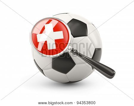 Football With Magnified Flag Of Switzerland