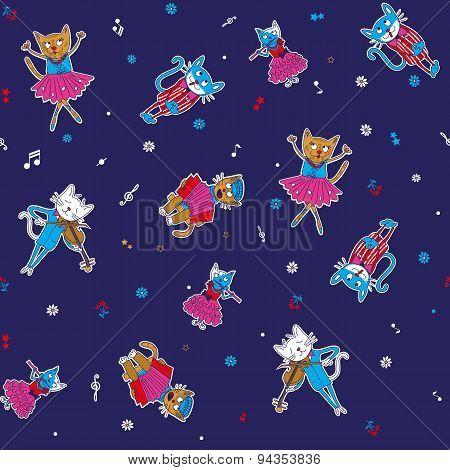 Cartoon seamless multicolored singing cats and stars on a dark background