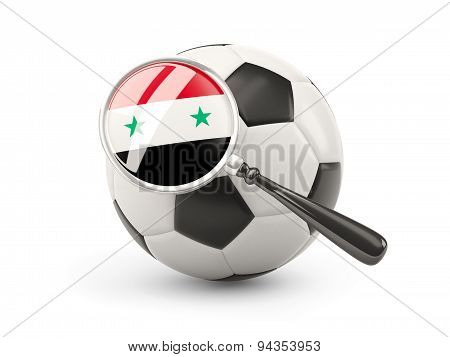 Football With Magnified Flag Of Syria