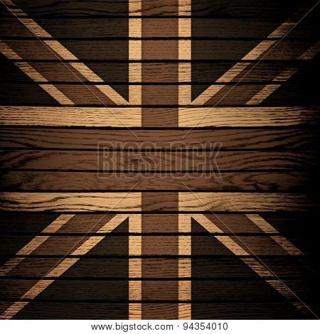 england flag on wood plank