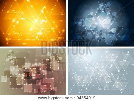 Tech shiny sparkling abstract backgrounds. Raster art design