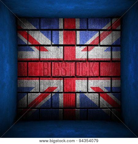 grunge brick wall with england flag
