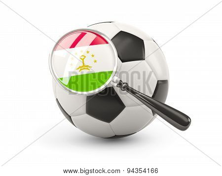 Football With Magnified Flag Of Tajikistan