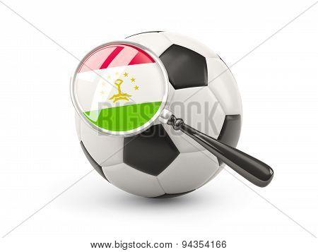 Football With Magnified Flag Of Tajikistan