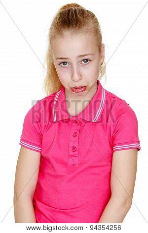 Humorous, sad teen , close-up