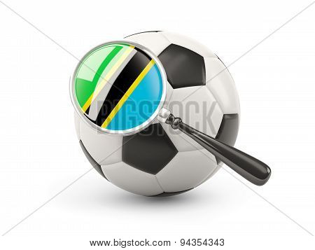 Football With Magnified Flag Of Tanzania