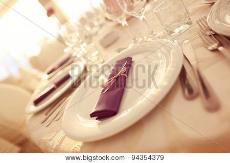 Wedding Plates With Purple Napkin