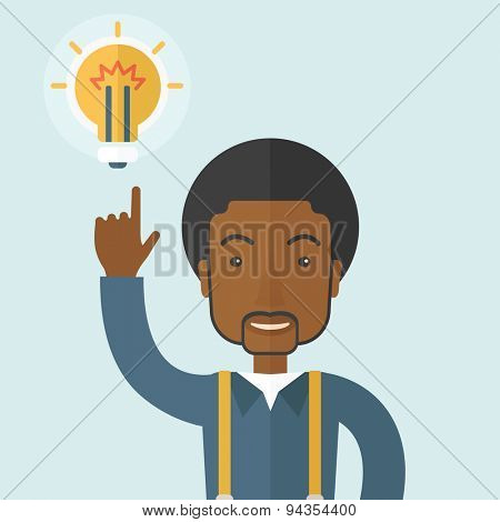A happy black guy raising his hand pointing the bulb having a good idea for business. Business concept. A Contemporary style with pastel palette, soft blue tinted background. Vector flat design
