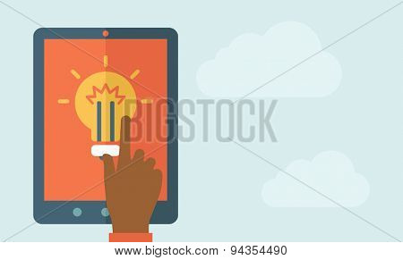 The finger hand pointing the bulb in big screen. Idea concept. A Contemporary style with pastel palette, soft blue tinted background. Vector flat design illustration. Horizontal layout with text space