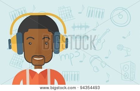 A Happy black young guy listening to music with headphones. Happy concept. A Contemporary style with pastel palette, soft blue tinted background. Vector flat design illustration. Horizontal layout.