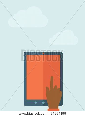 A Hand touching blank screen of tablet computer. A Contemporary style with pastel palette, soft blue tinted background with desaturated clouds. Vector flat design illustration. Vertical layout.