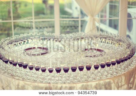 Many Glasses On Wedding Day