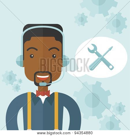 An african operator with headset as customer service helpdesk with screwdriver and combination wrench inside bubble. Call center concept. A Contemporary style with pastel palette, soft blue tinted