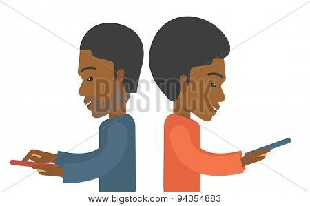 A two african businessmen using their mobile phone for business proposal. . A contemporary style. Vector flat design illustration with isolated white background. Horizontal layout.