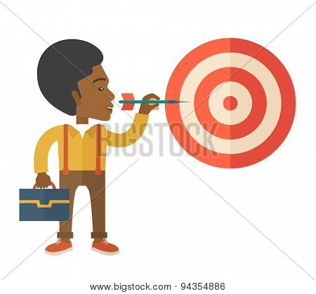 A working black man with strategy on how to get his target market sales higher. Market strategy concept. A Contemporary style. Vector flat design illustration isolated white background. Square layout.