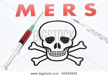 Cautions Of Mers - Thermometer And Syringe With A Contagious Blood With A Hazard Warning Of Mers