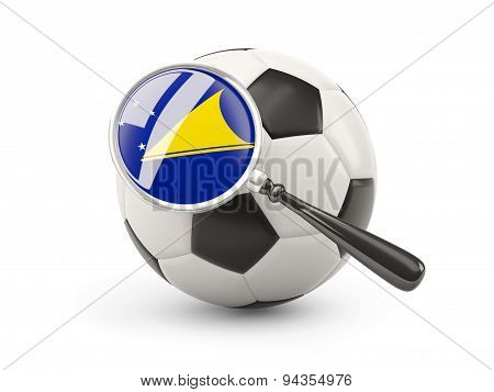 Football With Magnified Flag Of Tokelau