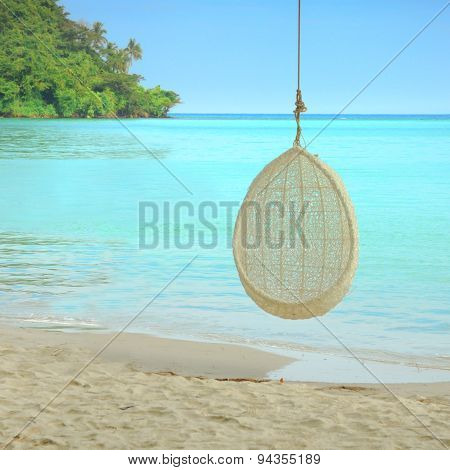 Swing Hang On Tree Over Beautiful Beach In Thailand