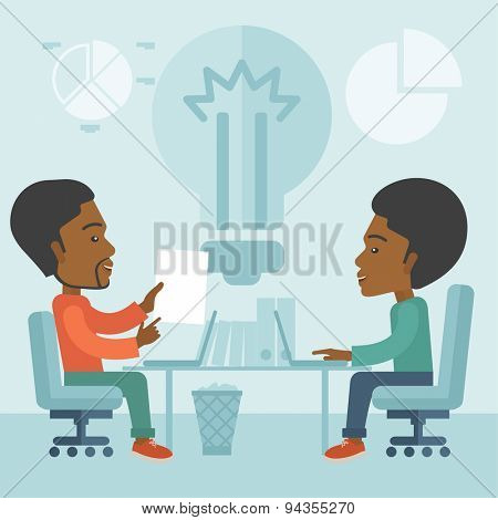 A Two African businessmen sitting working together getting a brilliant ideas from internet using their laptop. A Contemporary style with pastel palette, soft blue tinted background. Vector flat design