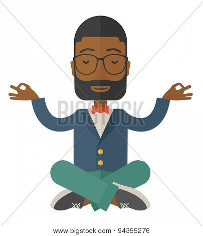 An african man closing his eyes thinking about on how the business will grow. Business concept. A Contemporary style. Vector flat design illustration isolated white background. Square layout.
