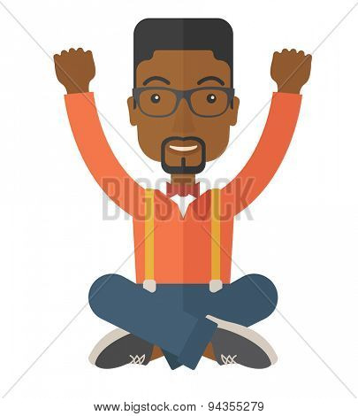 A young black guy is happy raising his two hands. Successful concept. A contemporary style. Vector flat design illustration with isolated white background. Square layout.