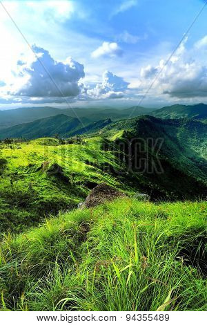 Scenery Mountain And Amazing Meadow In Rainy Season