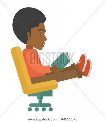 A black man sit down with a book in his hand reading for business market strategy. A Contemporary style. Vector flat design illustration isolated white background. Square layout.