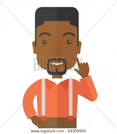 A black young successful man happy raising his one arm showing that he is number one. Winner concepA contemporary style. Vector flat design illustration with isolated white background. Square layout.