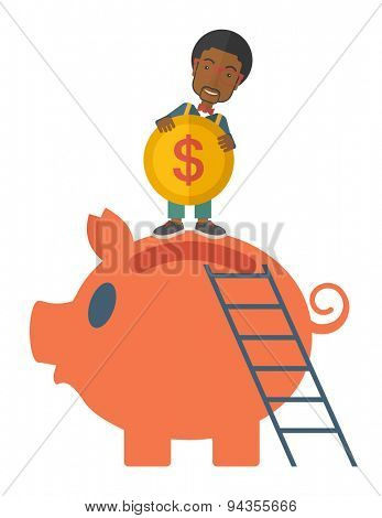 A young black guy saving his money by putting a coin in big piggy bank using a ladder. Saving concept. A Contemporary style. Vector flat design illustration isolated white background. Vertical layout